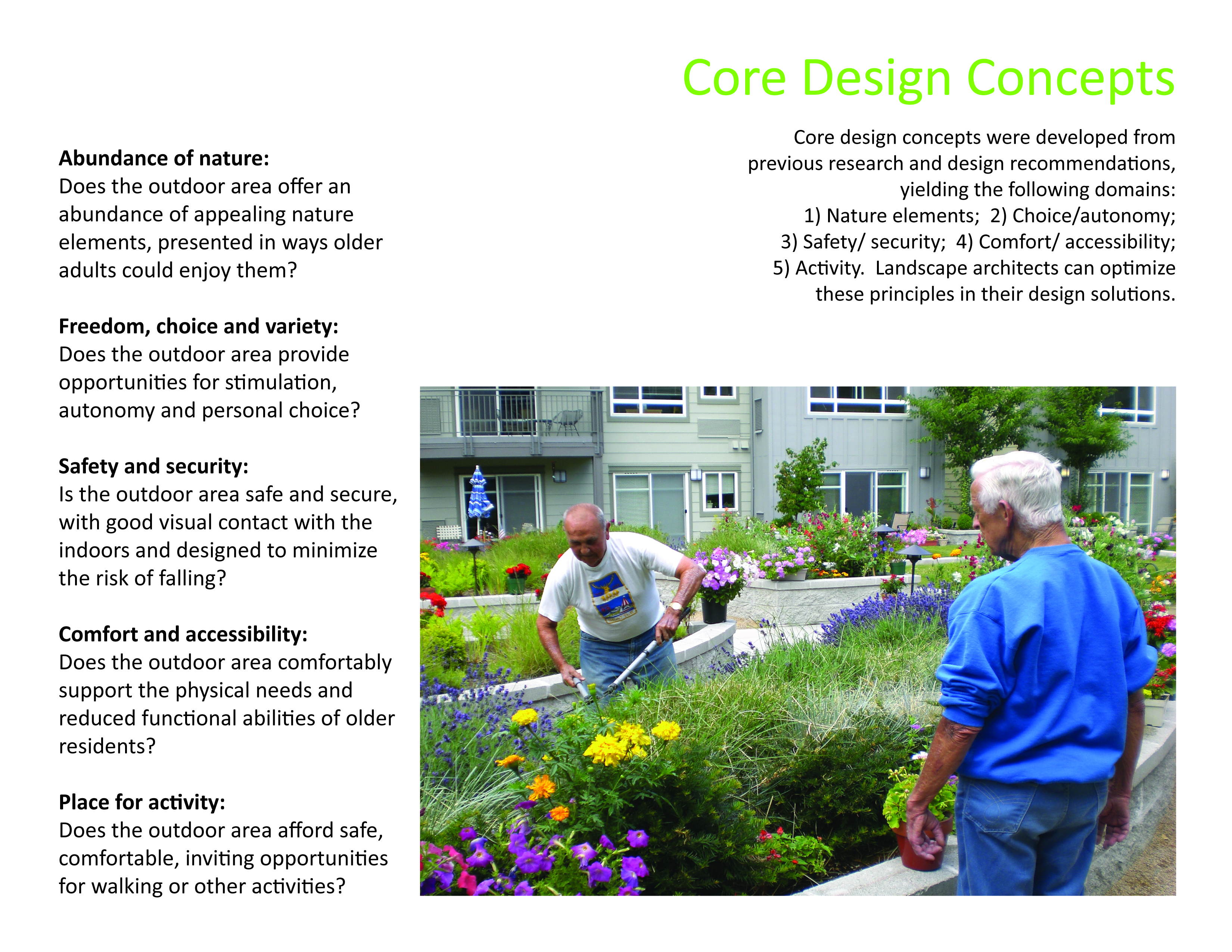 Asla 2010 professional awards access to nature for older for Architecture design for old age home
