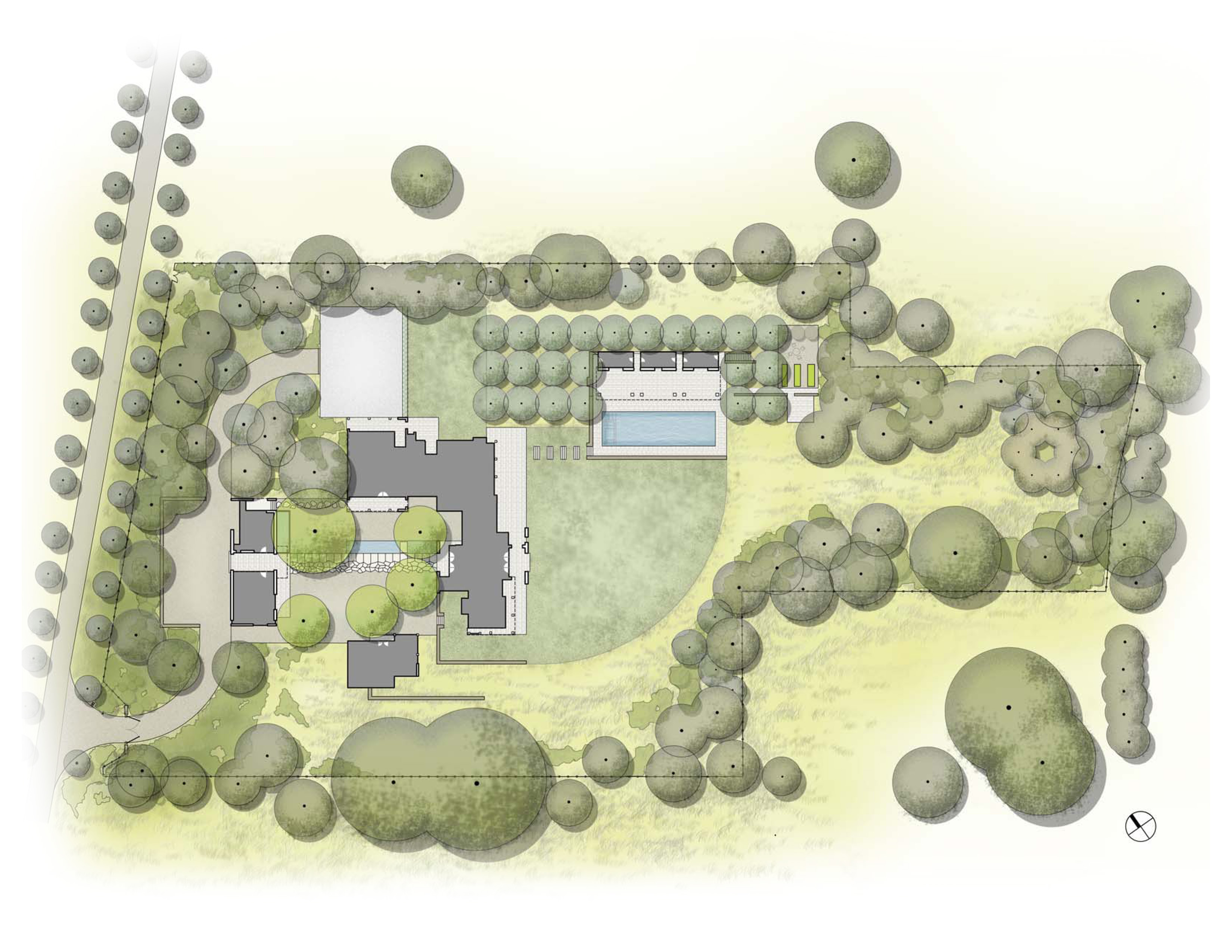 Asla 2013 professional awards woodside residence for Architectural site plan drawing