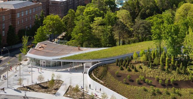 Asla 2013 professional awards brooklyn botanic garden visitors center landscape for Brooklyn botanical garden parking